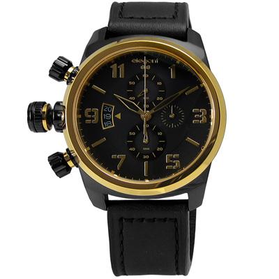 elegantsis 狙擊戰地情人三環小牛皮腕錶-黑色x金色/43mm