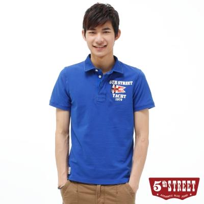 5th STREET POLO衫 旗幟開襟素面POLO衫-男-藍色
