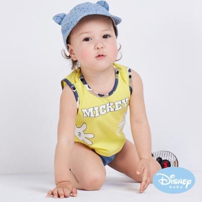 Disney Baby 拍手米奇背心連身裝 中黃