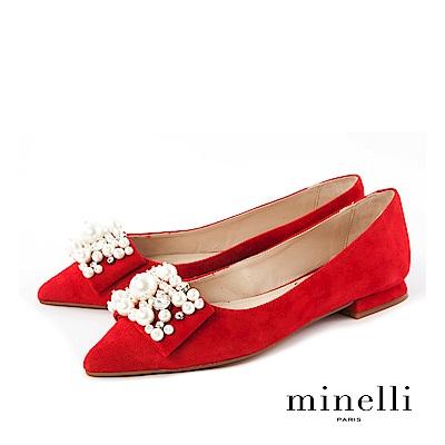 Minelli--西班牙製造 珍珠裝飾全真皮尖頭平底鞋-亮眼紅