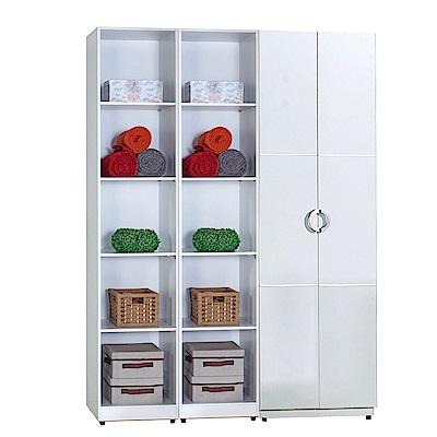 AT HOME-凱倫5尺白色三件組合衣櫃[雙吊+五格](150*54*197cm)