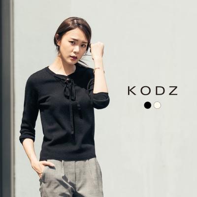東京著衣-KODZ 歐美前交叉綁帶設計針織上衣-S.M.L(共二色)