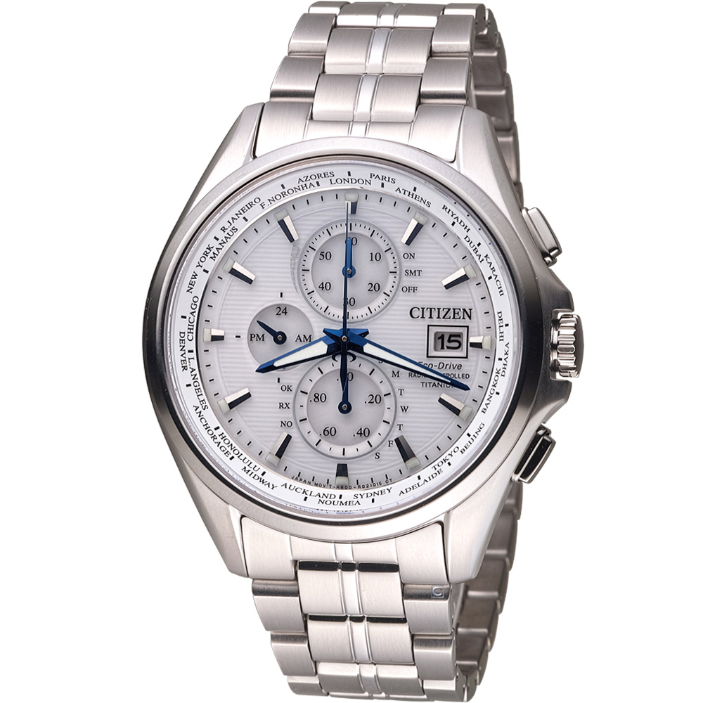 CITIZEN 星辰 光動能全球電波時計腕錶(AT8130-56A)-白/43mm