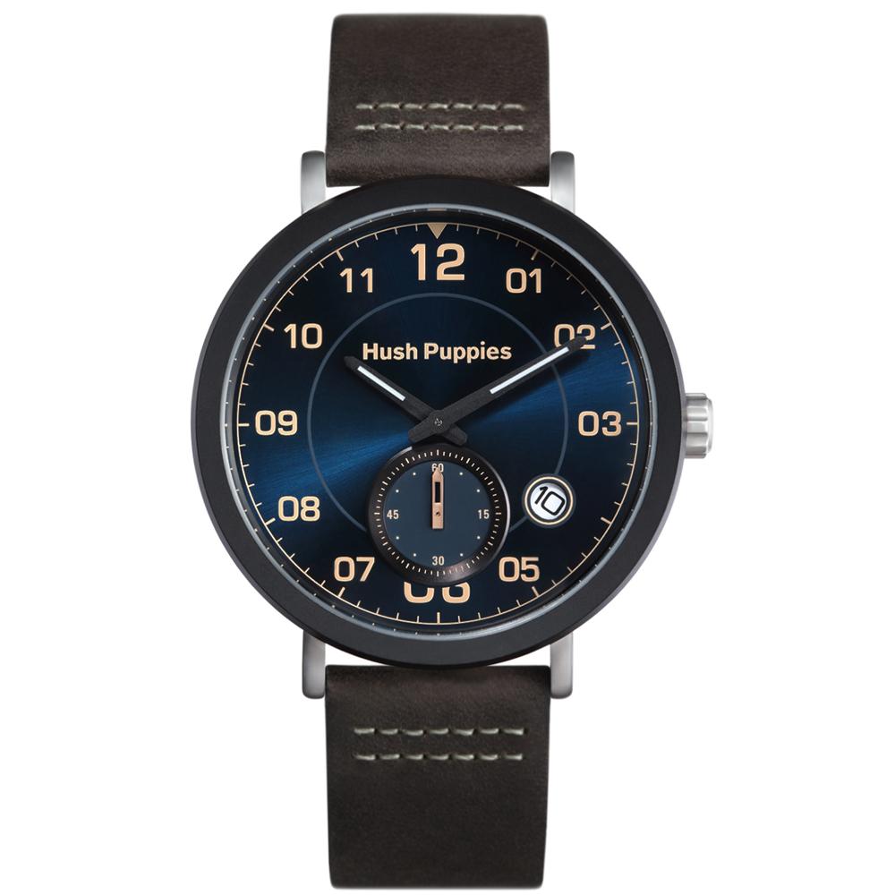 Hush Puppies典藏紳士雙環腕錶-靛藍/44mm