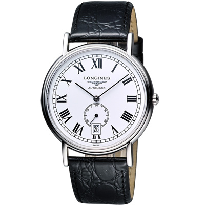LONGINES Presence 經典小秒針機械腕錶-白/38.5mm