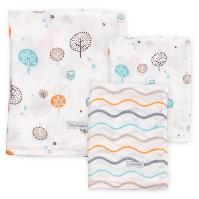 奇哥  竹纖維紗布包巾禮盒(大包巾x1+大方巾x2)