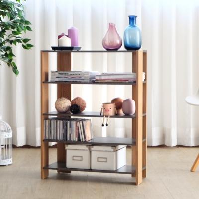 EASY HOME-加寬四層美背開放式收納架(灰+木紋)-62.8x25.4x80-DIY