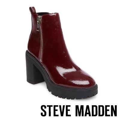 STEVE MADDEN-TURBO 厚底粗跟拉鍊短筒靴-酒紅