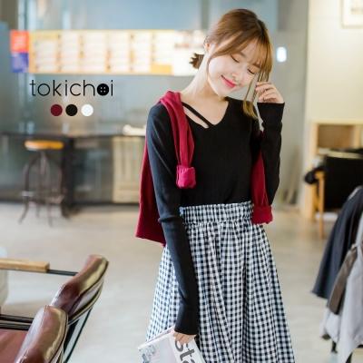 東京著衣 多色設計領修身針織上衣-S.M(共三色)