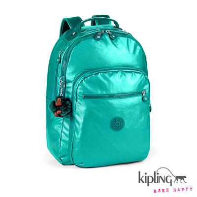 Kipling-金屬感珠光綠後背包