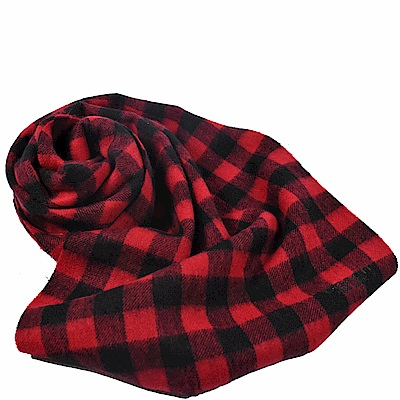 COACH 撞色格紋羊毛長型圍巾(紅)