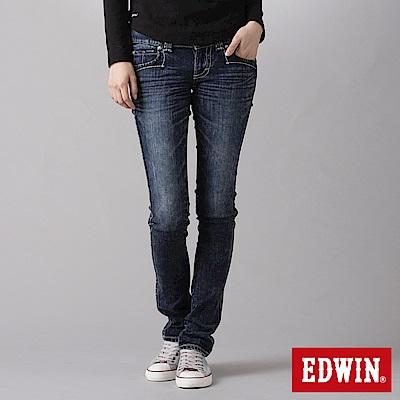EDWIN MISS拼接袋蓋窄直筒牛仔褲-女-酵洗藍