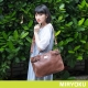 MIRYOKU-經典復古皮革系列-雙夾層簡約肩揹兩用包-啡