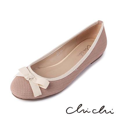 Chichi人氣百搭 OL網布撞色平底包鞋*粉色
