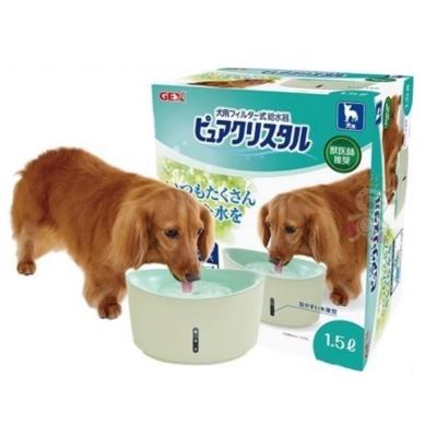GEX 視窗型犬用淨水飲水器1.5L(綠色)附濾網一片