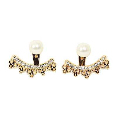 KATE SPADE 珍珠扇型水鑽耳針式耳環(金色/白)