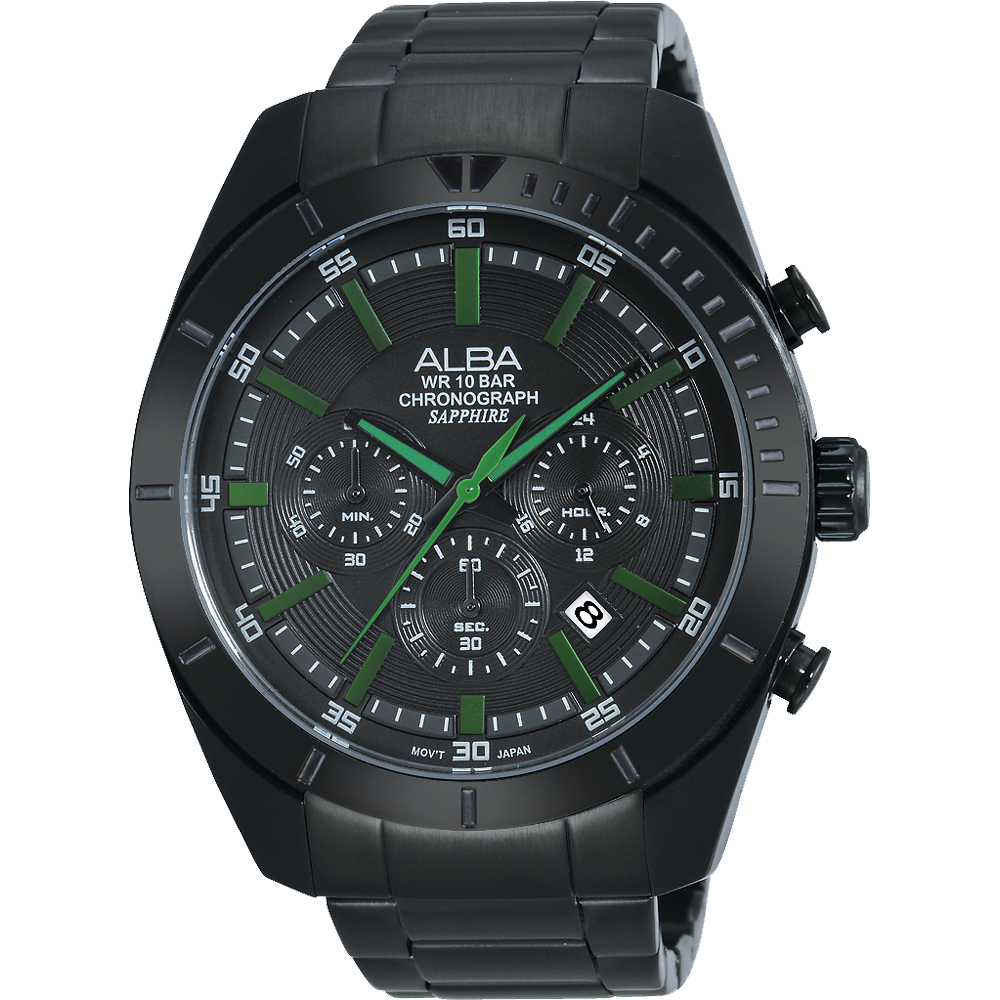 ALBA 七夕戀人三眼計時腕錶(AT3603X1)-鍍黑/45mm