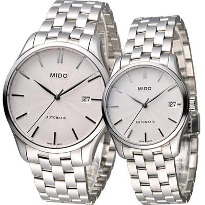 MIDO Belluna II 雋永系列戀人80小時機械對錶-銀/40+33mm