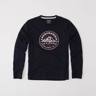 A&F 經典徽章刺繡長袖T恤-深藍色 AF Abercrombie