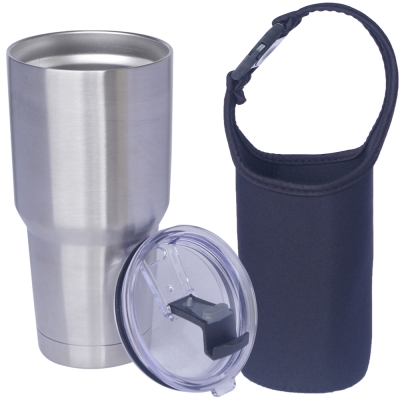 冰凍杯 304不鏽鋼雙層保冷/保溫杯900ml一個+杯套一個 (8H)