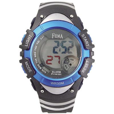 FEMA 炫彩流行 計時鬧鈴 數位運動錶(P308GB)-黑藍/37mm