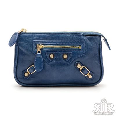 2R-香水牛皮機車Aroma化妝鏡子包-寶石藍