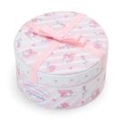 Sanrio 美樂蒂 PU皮革圓型禮盒式飾品收納盒(浪漫玫瑰)