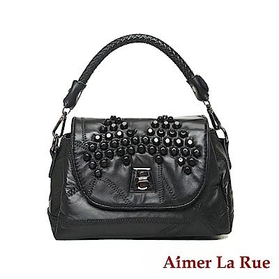 Aimer La Rue 手提側背斜背包 羊皮拼接鉚釘眉飛色舞編織系列(黑色)