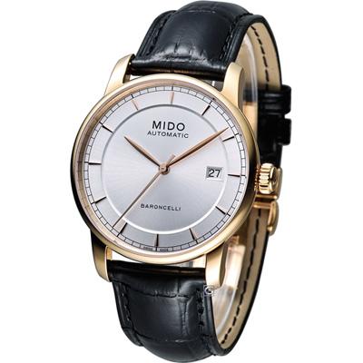 MIDO Baroncelli 永恆系列復刻紳士腕錶-銀x玫瑰金框/38mm