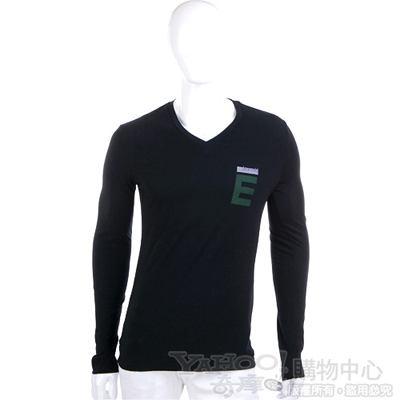 EXTE 黑色LOGO V領長袖T恤