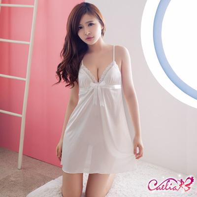 Caelia 淨白愛戀!純情柔緞睡衣