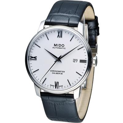 MIDO Baroncelli III 永恆系列矽游絲天文台認證機械錶-白/40mm