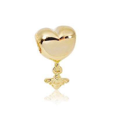 Pandora 潘朵拉 18k金愛心蜜蜂造型 純銀墜飾 串珠