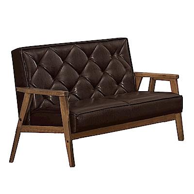 品家居 費莎透氣皮革實木沙發雙人座-114x76x79cm免組