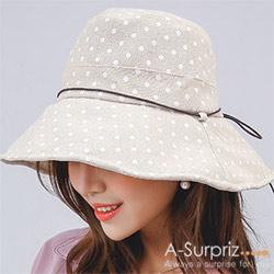 A-Surpriz 點點圓木釦綁仿皮繩遮陽布帽(米)附防風繩