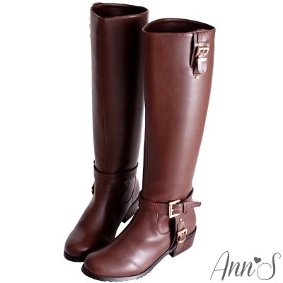Ann'S精緻品味T型金釦顯瘦軍靴-咖