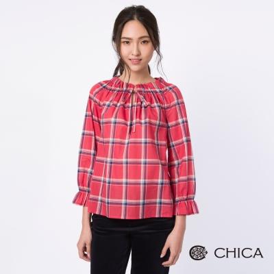 CHICA 文藝女孩艷色寬格紋設計上衣(2色)