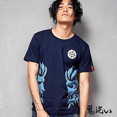 鬼洗 BLUE WAY 雙效果鬼頭印花短袖T恤-丈青