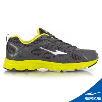 ERKE 鴻星爾克。男運動常規慢跑鞋-青銅灰/果綠