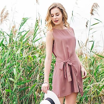 層次感側綁帶造型無袖背心洋裝.2色-OB大尺碼