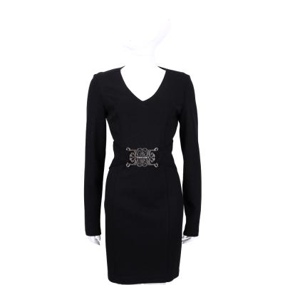 VERSACE 黑色V領金屬圖騰腰飾長袖洋裝