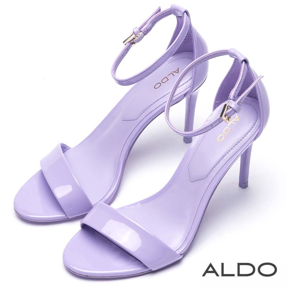 ALDO 原色一字金屬釦繫踝細高跟涼鞋~紫蘿蘭色