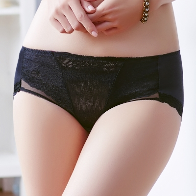 Audrey-V弧蝶AIR-中腰平口褲-時尚黑