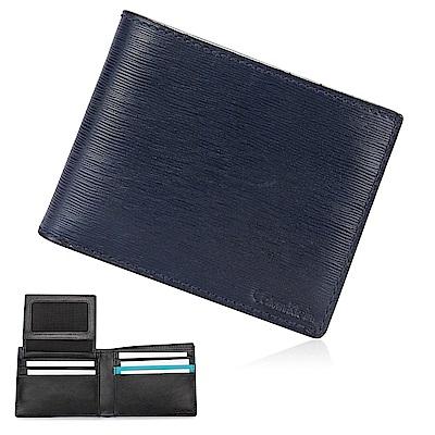 [時時樂限定]Calvin Klein 經典水波紋壓印LOGO短夾-深藍/黑