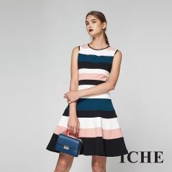 ICHE衣哲 時尚撞色設計拼接傘擺造型禮服洋裝