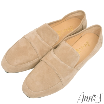 Ann'S韓系素面Q彈超柔軟全真皮舒適休閒平底鞋-杏