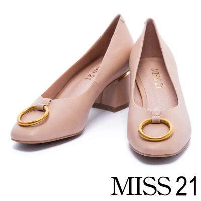 跟鞋 MISS 21 前衛潮流金屬圓環小方頭粗跟鞋-粉