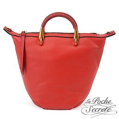 La Poche Secrete簡約荔枝紋真皮金屬提把水桶包-魅力紅