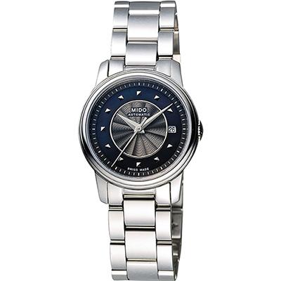 MIDO 美度 Baroncelli 永恆系列巴洛克機械女錶-黑珍珠貝x銀/25mm