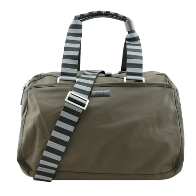 agnes b.霧面鐵牌雙色提把旅行袋(小/軍綠)